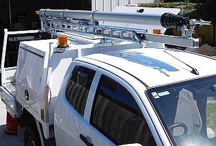 Powerline Inspection vehicle for above pole inspections.